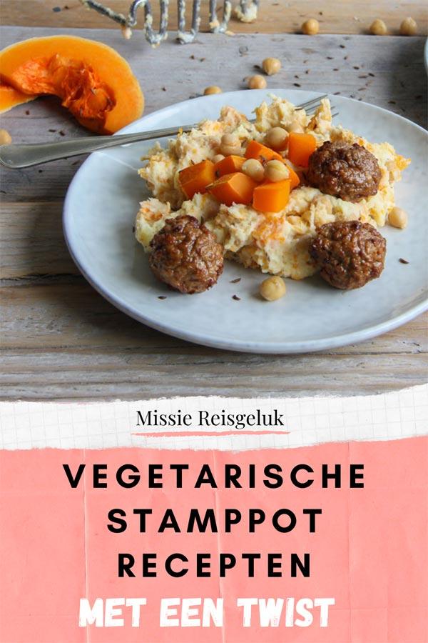 Pinterest beeld voor het pinnen van bijzondere vegetarische stamppot recepten