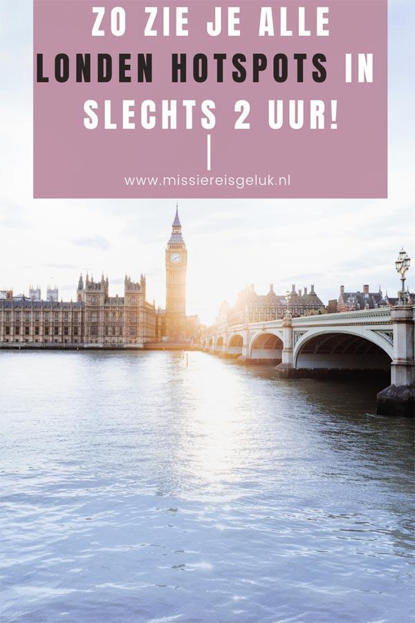 Pinterest beeld voor het pinnen van deze wandeling langs de bekendste Londen hotspots