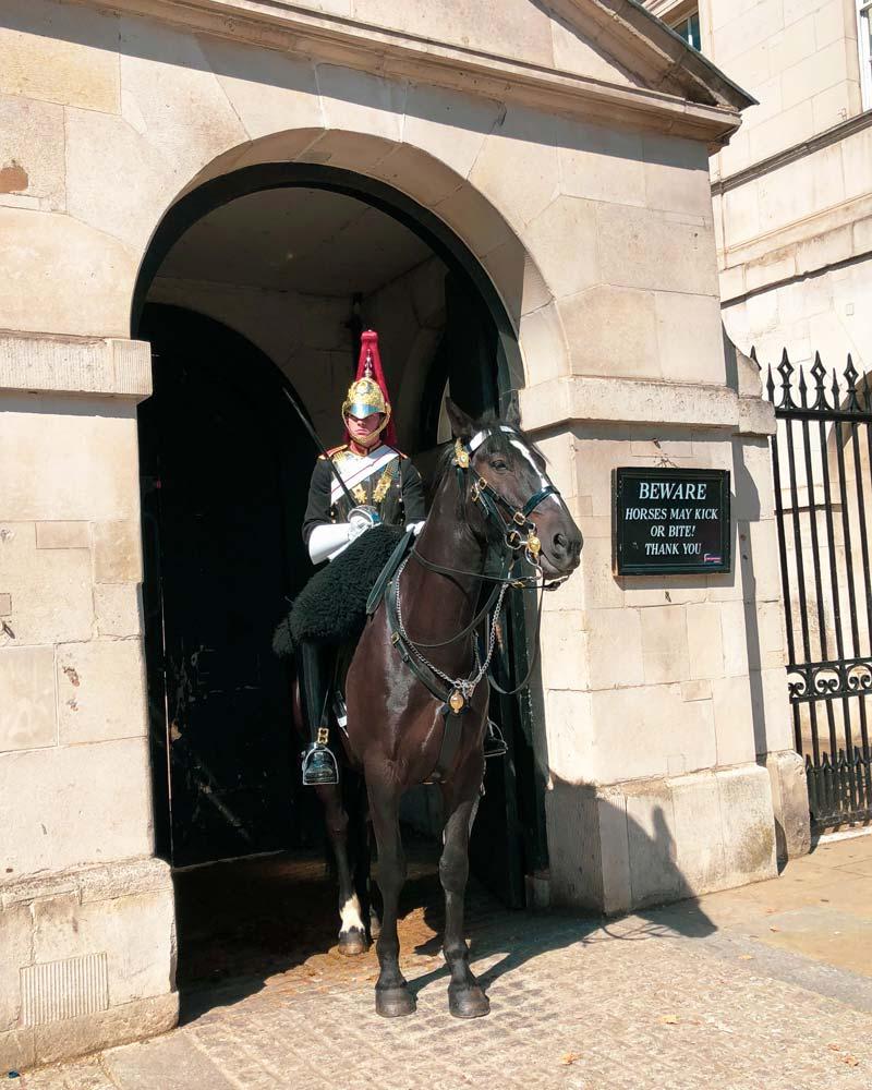 ruiter van de Horse Guards in Whitehall, Londen
