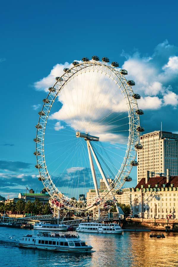 uitzicht over London Eye vanaf Westminster Bridge met County Hall zichtbaar achter het reuzenrad