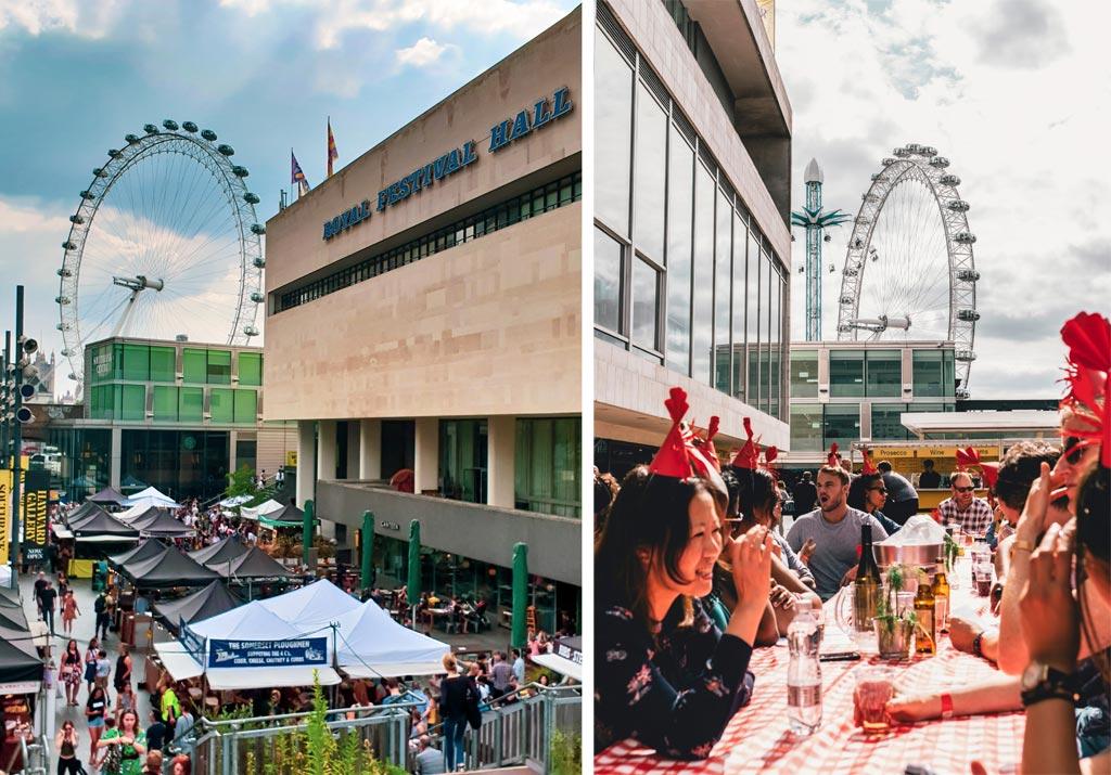 collage van twee foto's, links voedselkramen naast de Royal Festival Hall en London Eye op de achtergrond. Rechts een groepje mensen op het terras van Royal Festival Hall met London Eye op de achtergrond