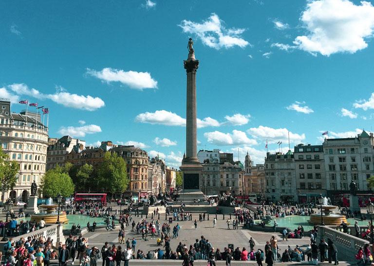Trafalgar Square is een van de bekendste hotspots in Londen